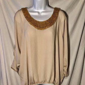 Beautiful open arm blouse size XL beaded neckline